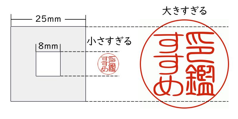 個人実印のサイズの例