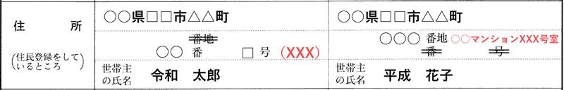 マンションの記入例