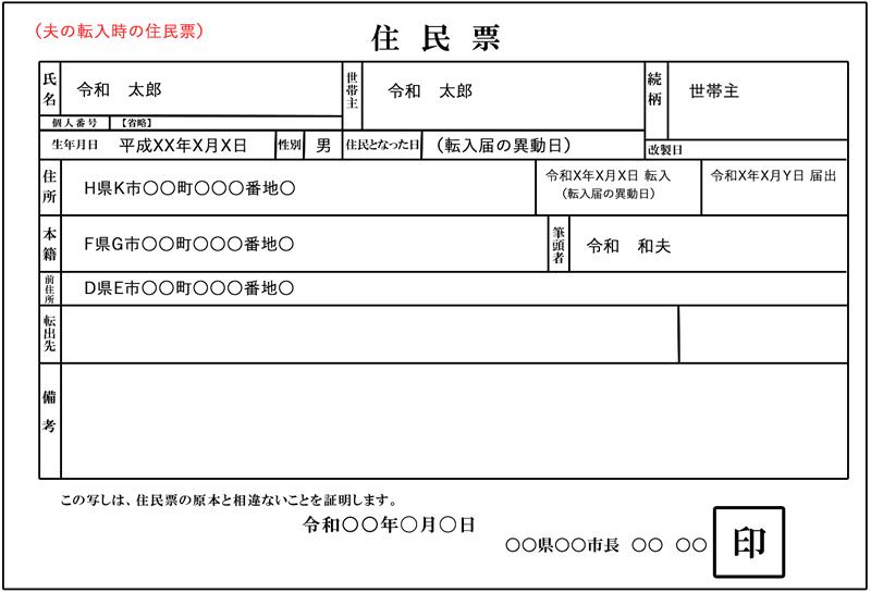 先に転入した夫の住民票イメージ