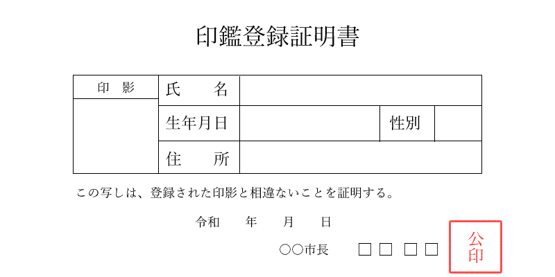 印鑑証明書の例